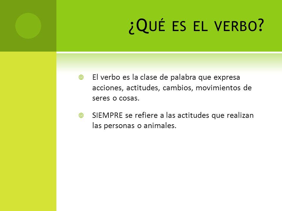 ¿Qué es el verbo El verbo es la clase de palabra que expresa acciones, actitudes, cambios, movimientos de seres o cosas.