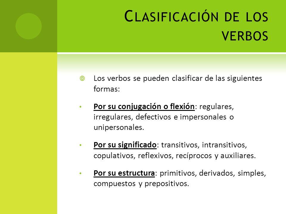Clasificación de los verbos