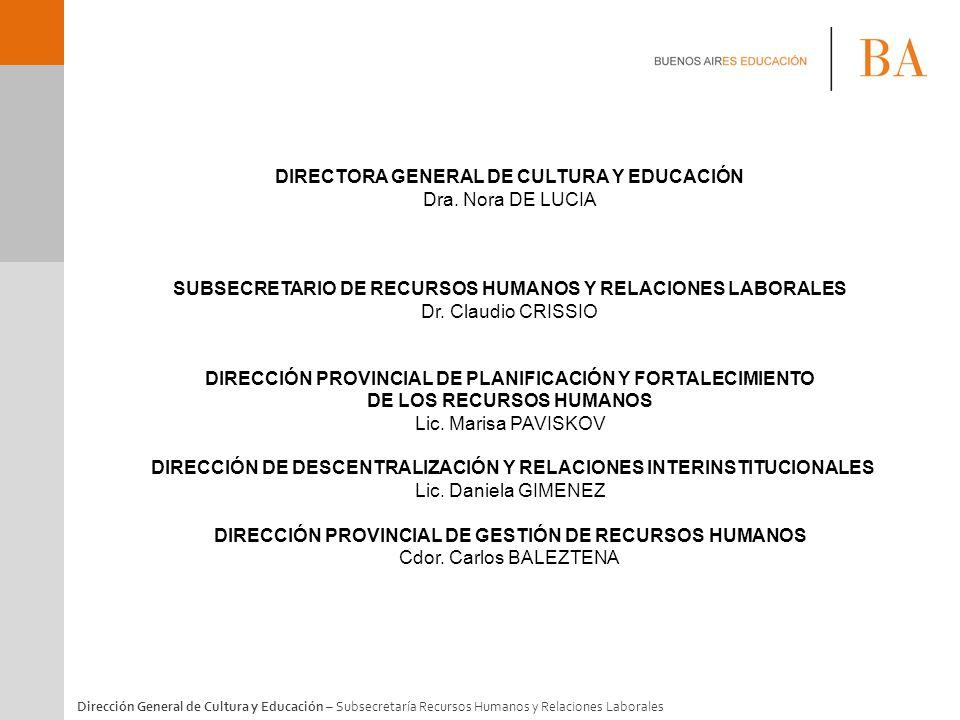 DIRECTORA GENERAL DE CULTURA Y EDUCACIÓN Dra. Nora DE LUCIA