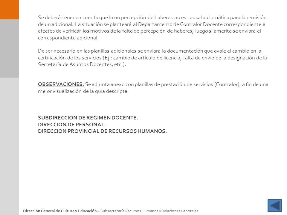SUBDIRECCION DE REGIMEN DOCENTE. DIRECCION DE PERSONAL.