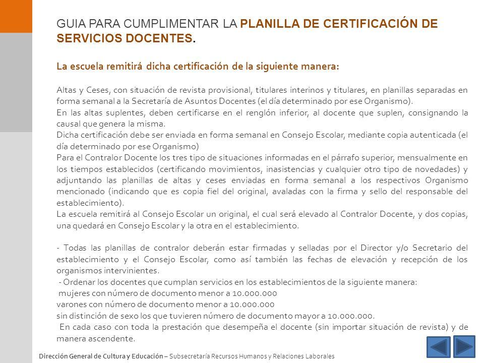 GUIA PARA CUMPLIMENTAR LA PLANILLA DE CERTIFICACIÓN DE SERVICIOS DOCENTES.