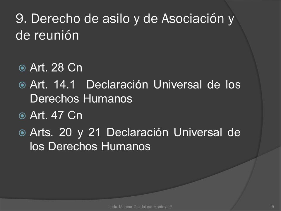 9. Derecho de asilo y de Asociación y de reunión