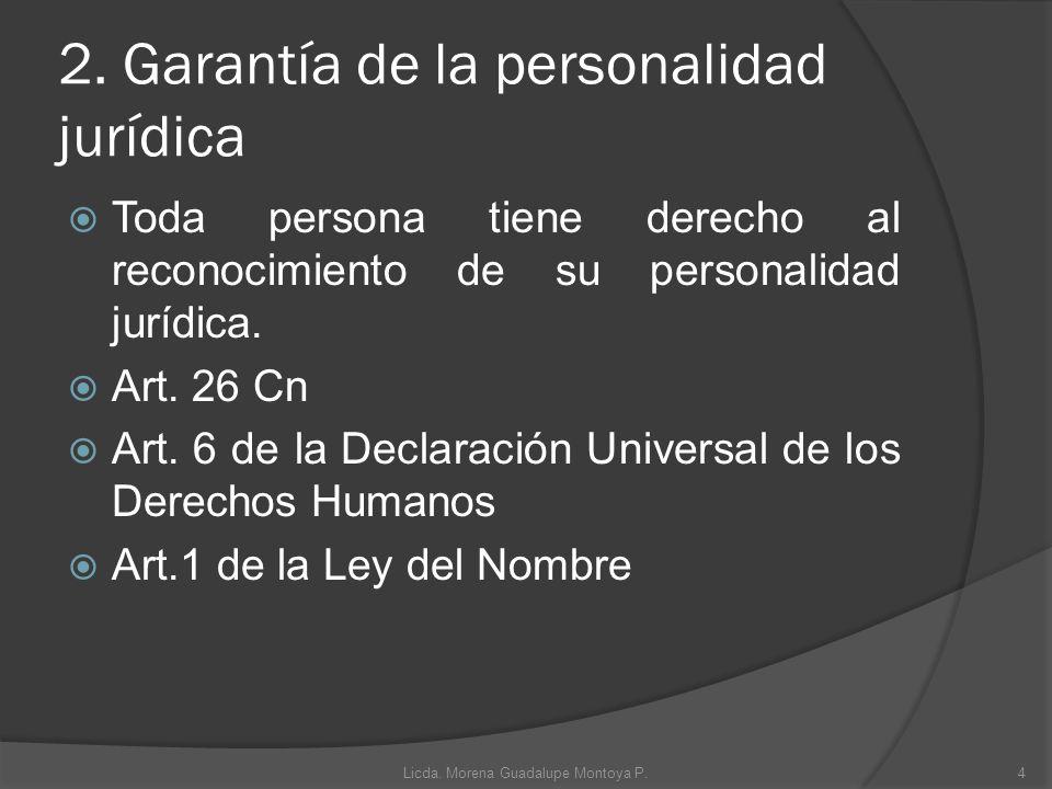 2. Garantía de la personalidad jurídica