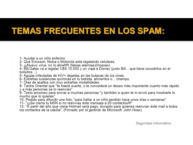 TEMAS FRECUENTES EN LOS SPAM: