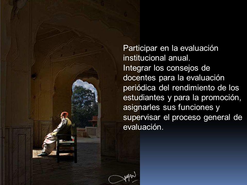 Participar en la evaluación institucional anual.