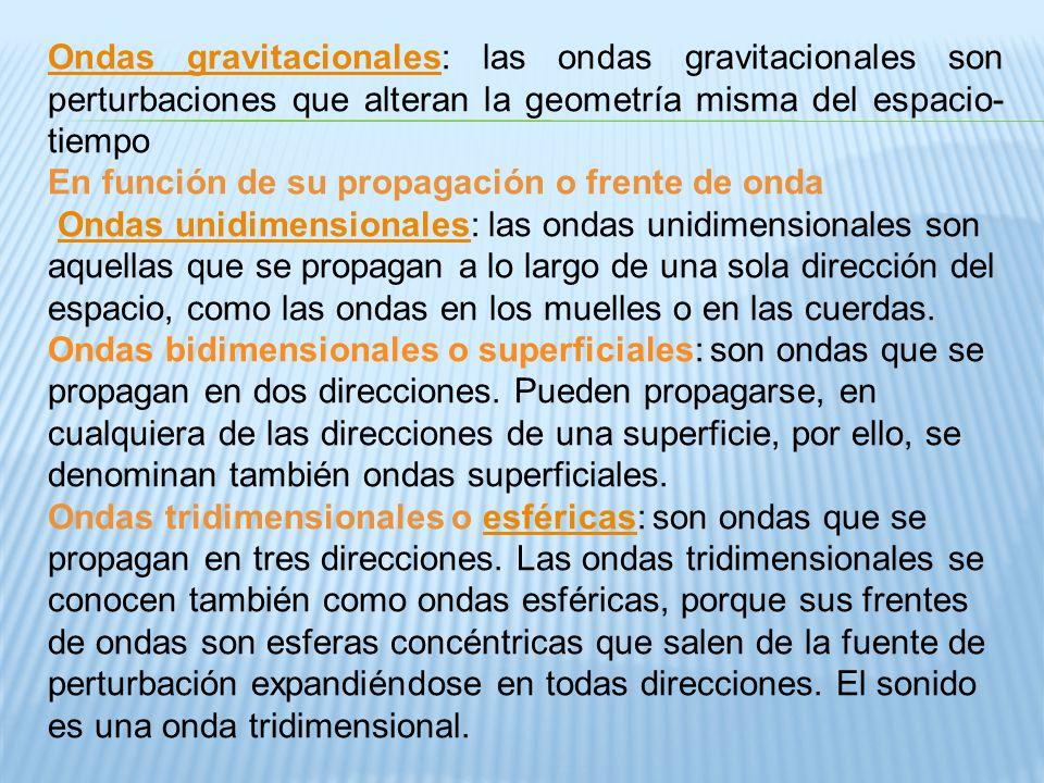 Ondas gravitacionales: las ondas gravitacionales son perturbaciones que alteran la geometría misma del espacio-tiempo