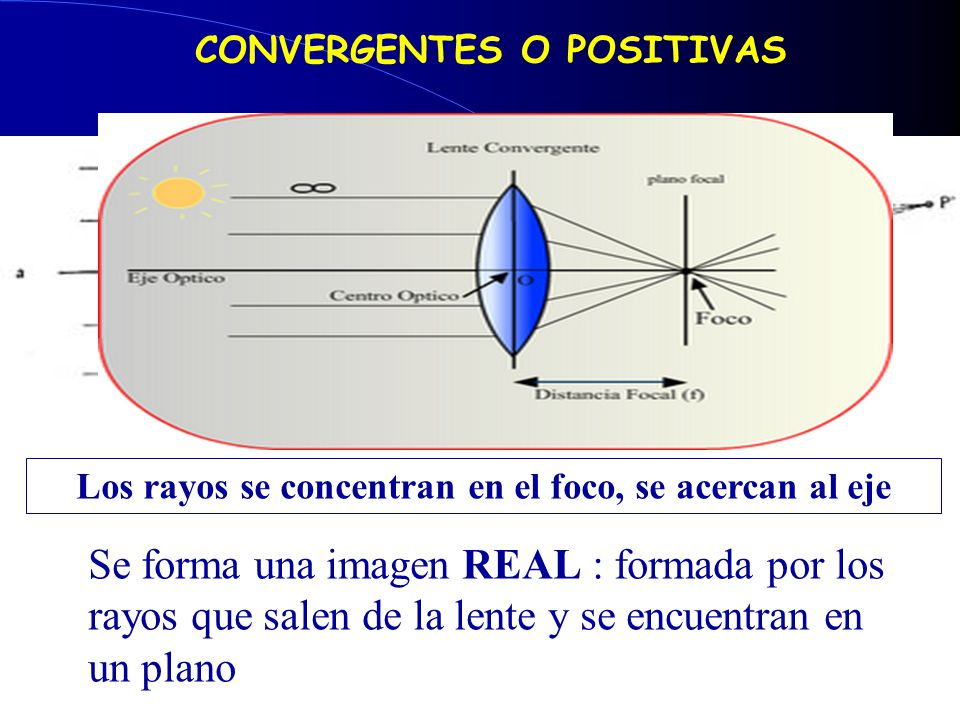 Los rayos se concentran en el foco, se acercan al eje