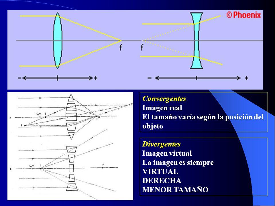 Convergentes Imagen real. El tamaño varía según la posición del objeto. Divergentes. Imagen virtual.