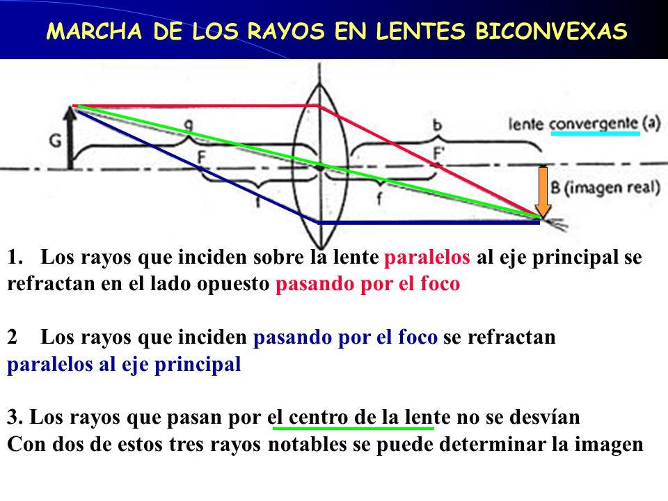 MARCHA DE LOS RAYOS EN LENTES BICONVEXAS