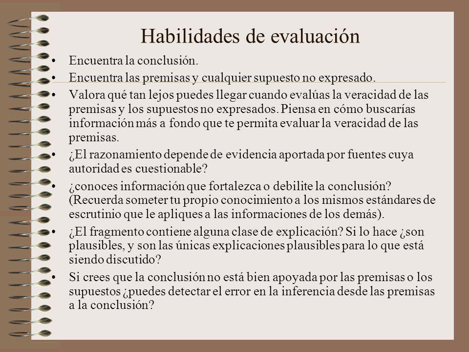 Habilidades de evaluación