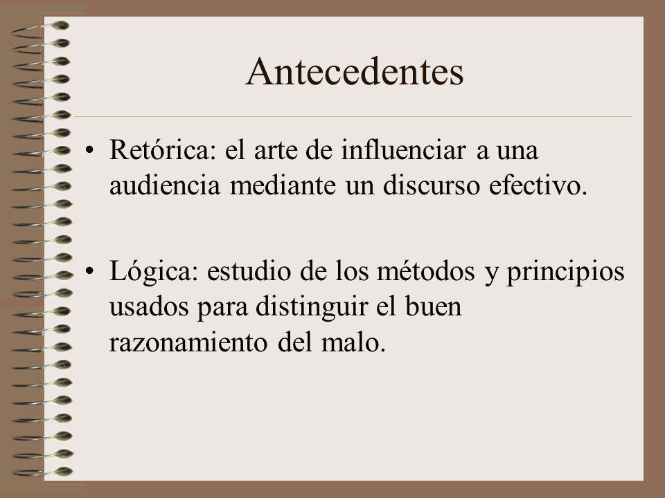 Antecedentes Retórica: el arte de influenciar a una audiencia mediante un discurso efectivo.