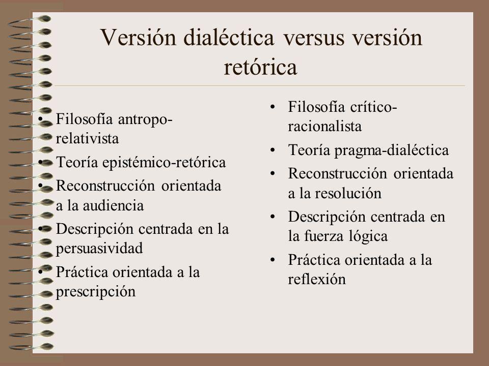 Versión dialéctica versus versión retórica