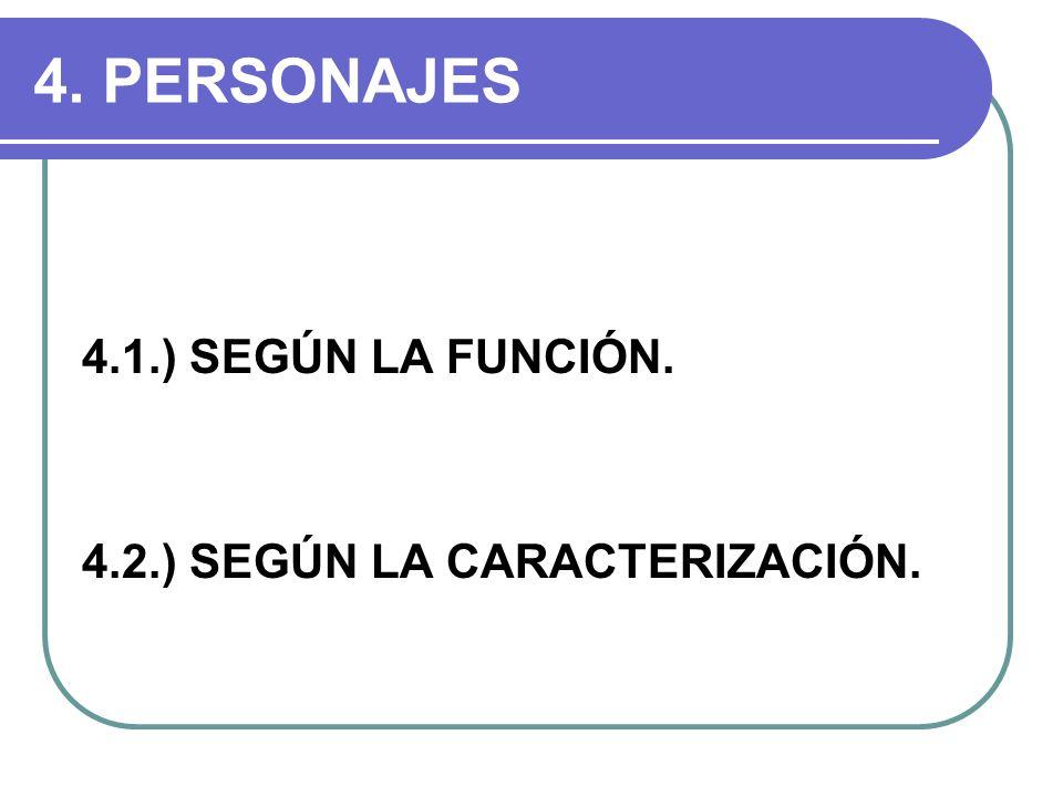 4. PERSONAJES 4.1.) SEGÚN LA FUNCIÓN. 4.2.) SEGÚN LA CARACTERIZACIÓN.
