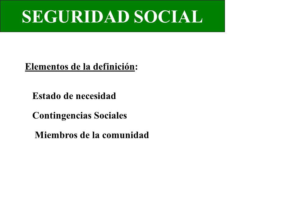 SEGURIDAD SOCIAL Elementos de la definición: Estado de necesidad