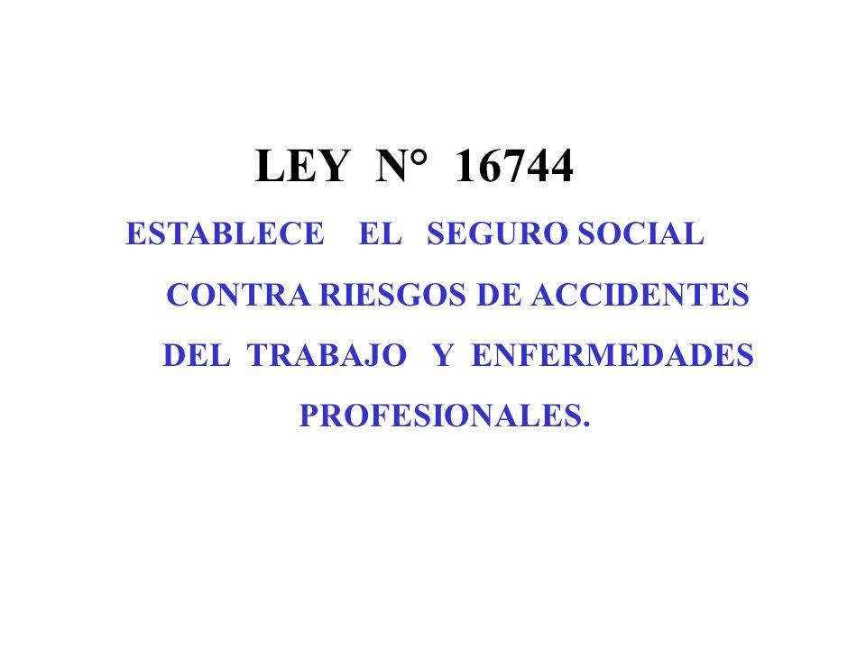 LEY N° 16744 ESTABLECE EL SEGURO SOCIAL CONTRA RIESGOS DE ACCIDENTES