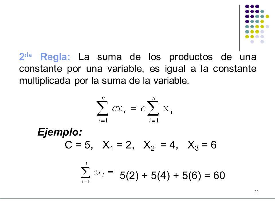 Ejemplo: C = 5, X1 = 2, X2 = 4, X3 = 6 5(2) + 5(4) + 5(6) = 60
