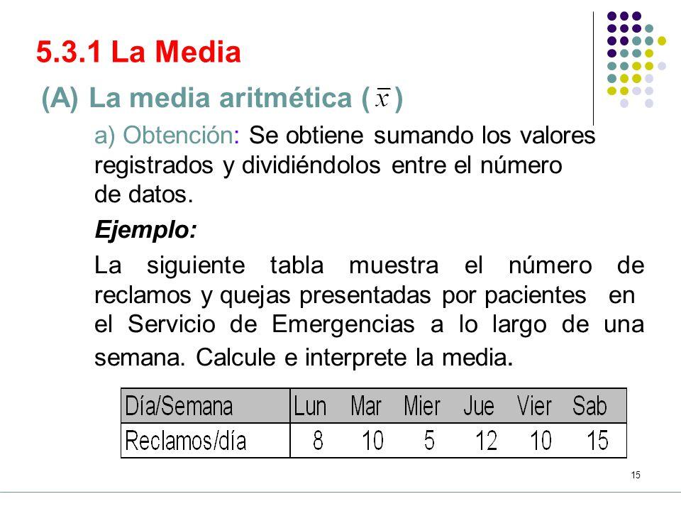 5.3.1 La Media (A) La media aritmética ( )