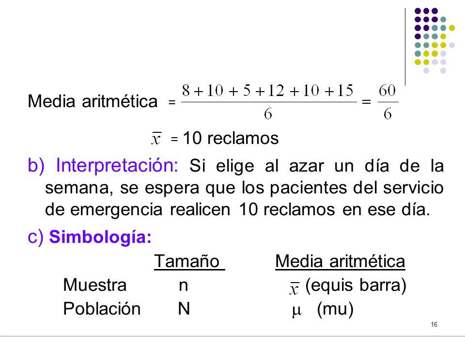 Media aritmética = = 10 reclamos.