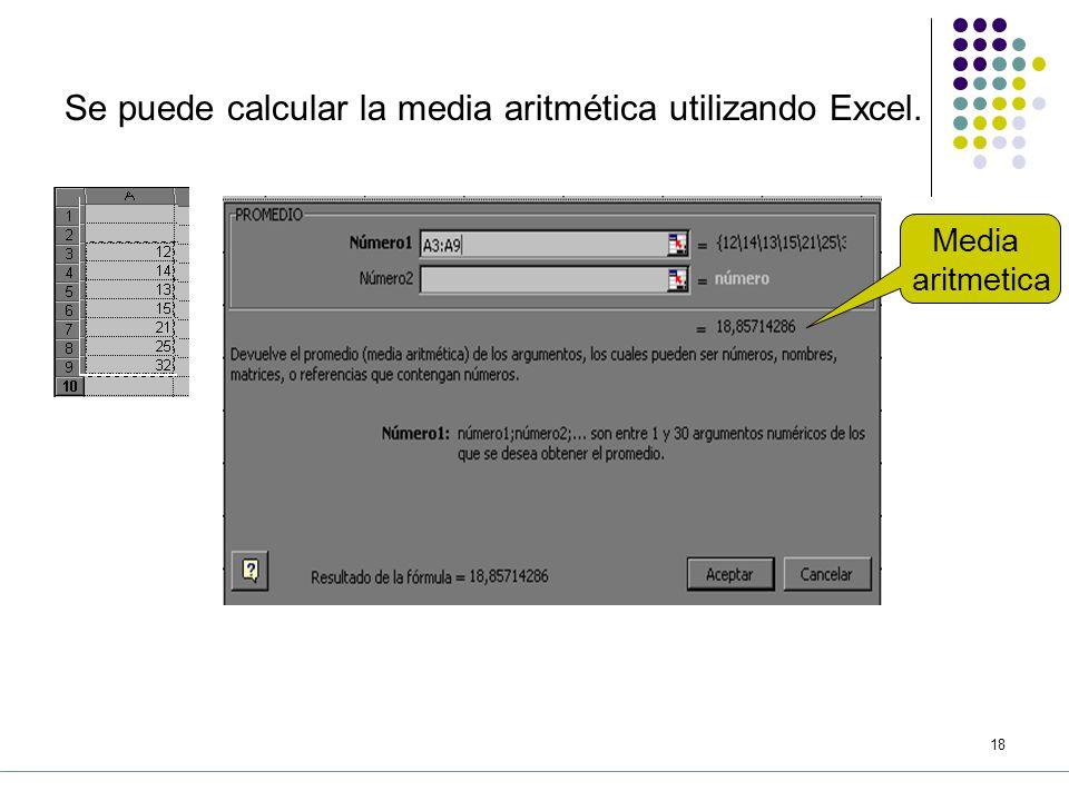Se puede calcular la media aritmética utilizando Excel.