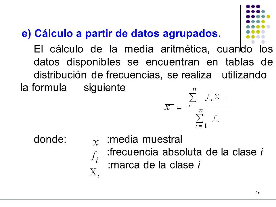 donde: :media muestral :frecuencia absoluta de la clase i