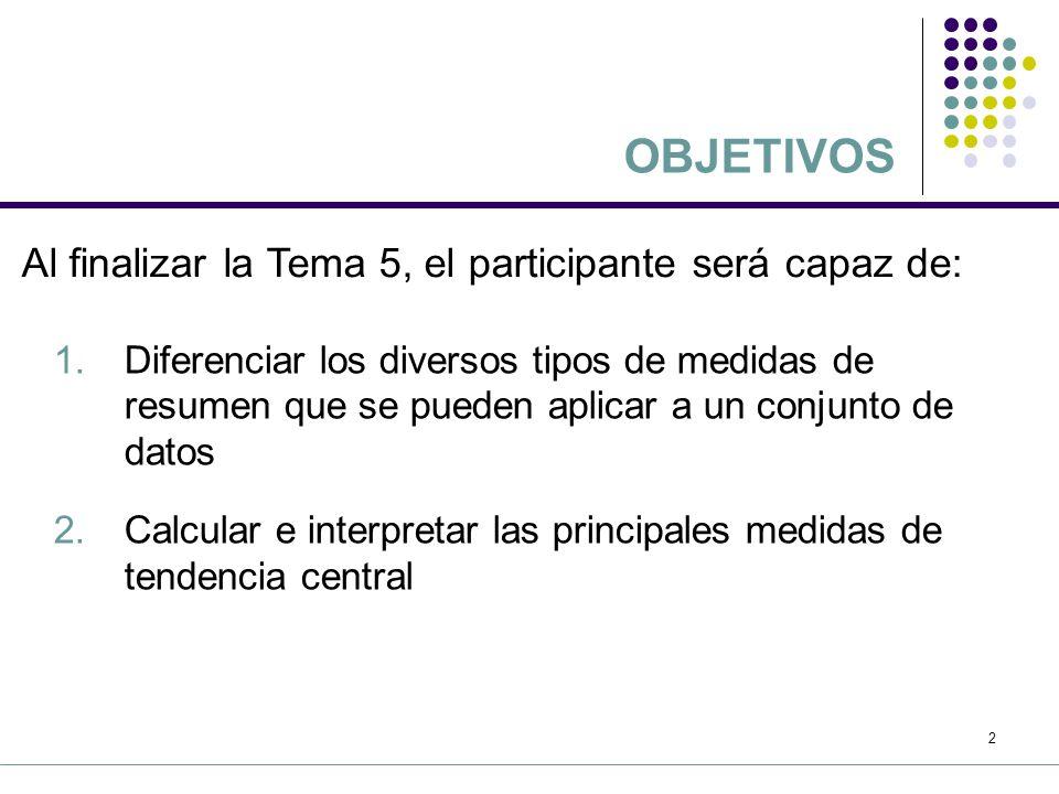 OBJETIVOS Al finalizar la Tema 5, el participante será capaz de: