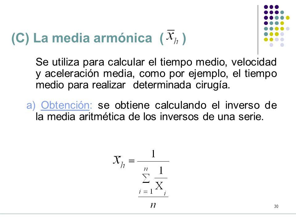 (C) La media armónica ( )