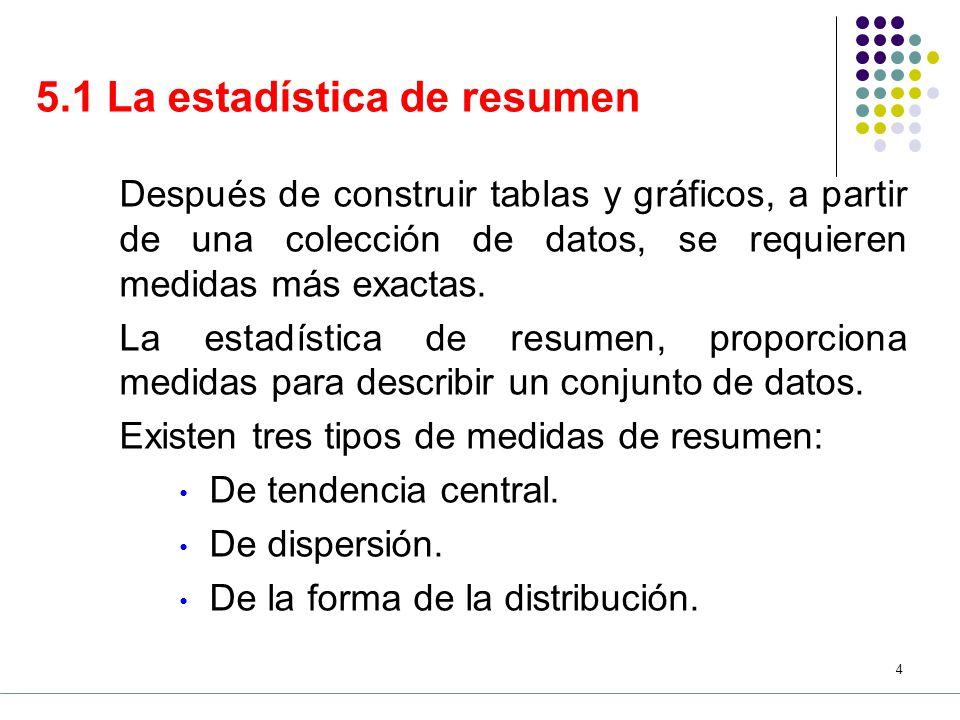 5.1 La estadística de resumen
