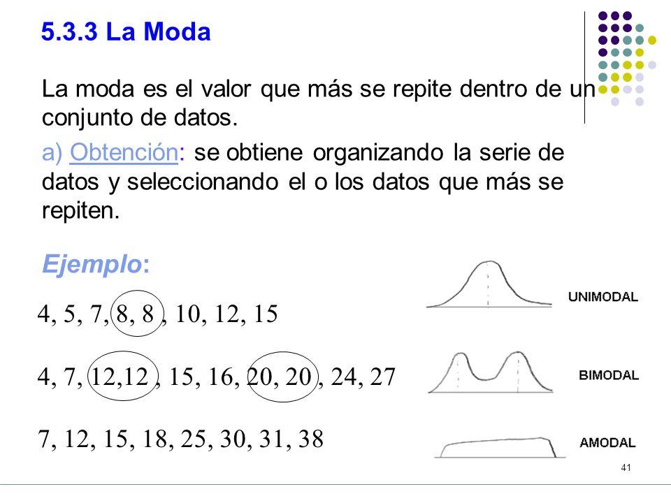 5.3.3 La Moda La moda es el valor que más se repite dentro de un conjunto de datos.