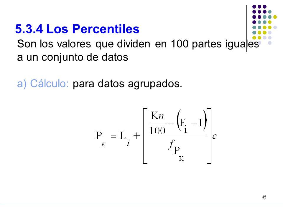 5.3.4 Los Percentiles Son los valores que dividen en 100 partes iguales a un conjunto de datos.