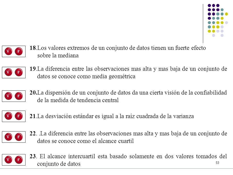 18.Los valores extremos de un conjunto de datos tienen un fuerte efecto