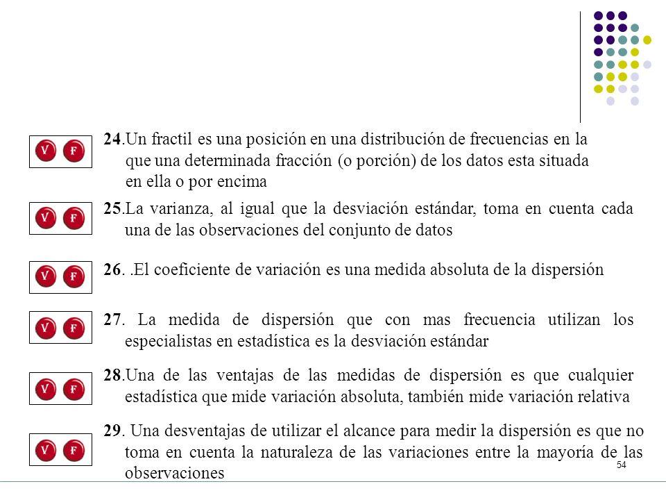 24.Un fractil es una posición en una distribución de frecuencias en la