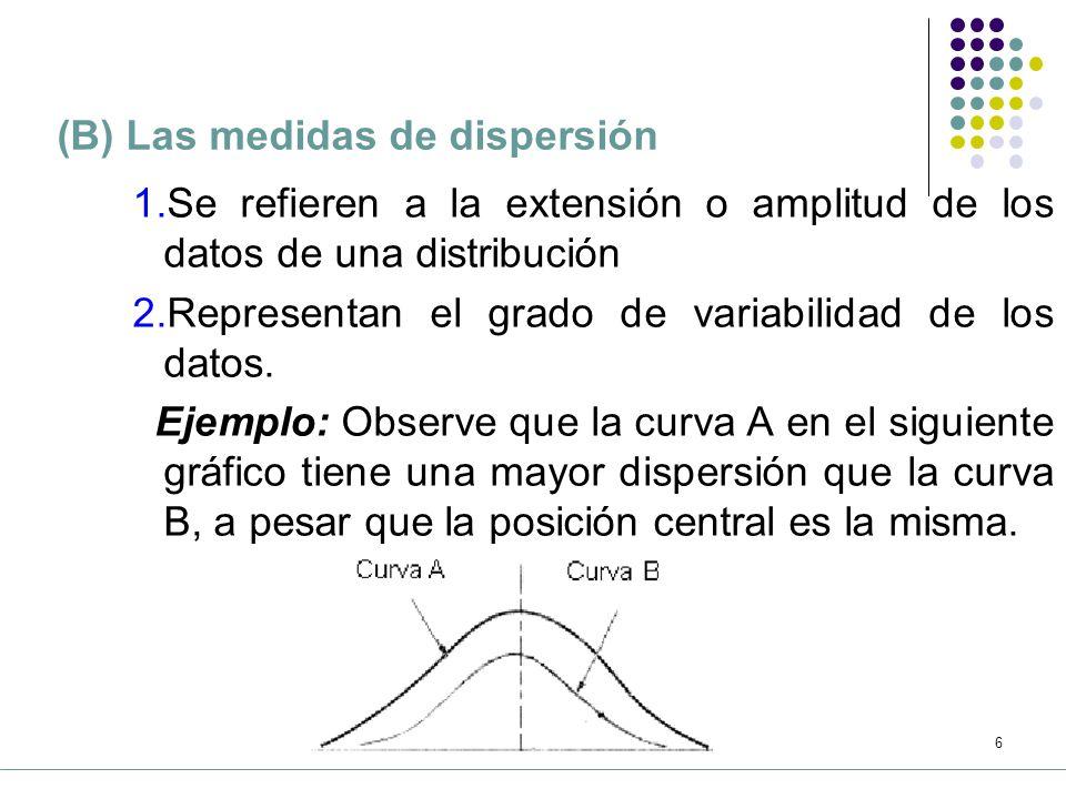 (B) Las medidas de dispersión