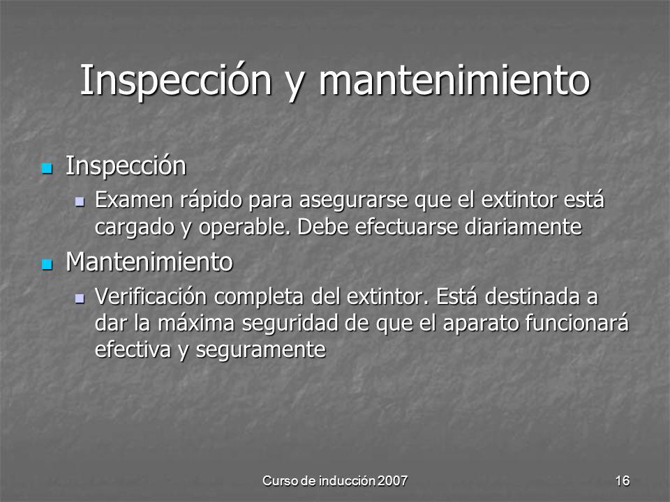 Inspección y mantenimiento