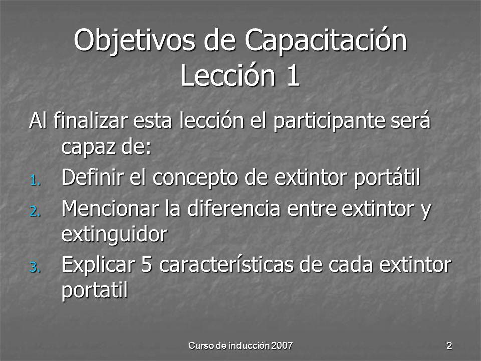 Objetivos de Capacitación Lección 1