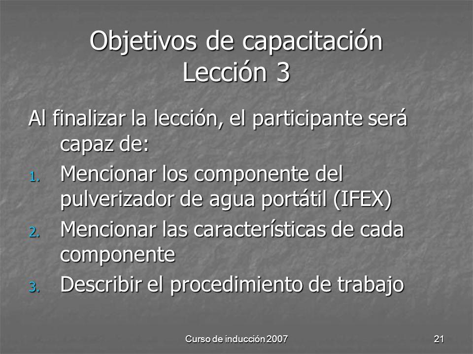 Objetivos de capacitación Lección 3