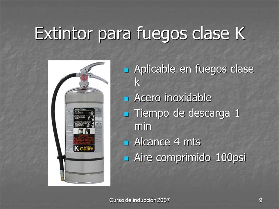 Extintor para fuegos clase K