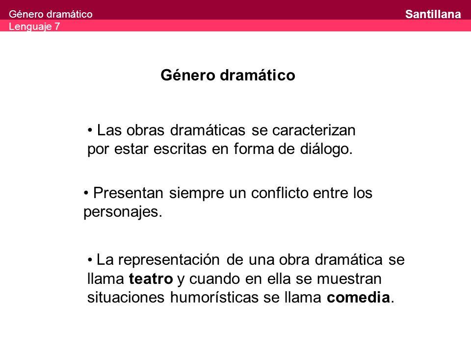Género dramático Las obras dramáticas se caracterizan por estar escritas en forma de diálogo. Presentan siempre un conflicto entre los personajes.