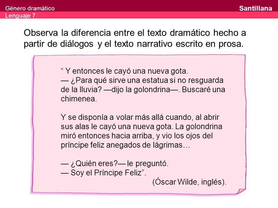Observa la diferencia entre el texto dramático hecho a partir de diálogos y el texto narrativo escrito en prosa.