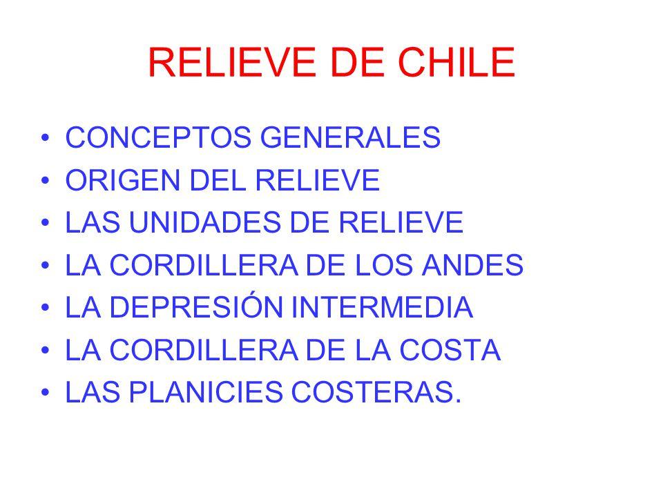RELIEVE DE CHILE CONCEPTOS GENERALES ORIGEN DEL RELIEVE