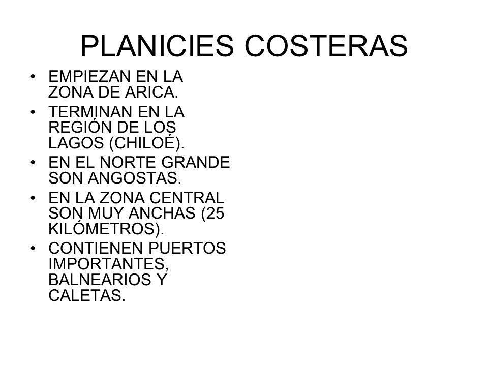 PLANICIES COSTERAS EMPIEZAN EN LA ZONA DE ARICA.