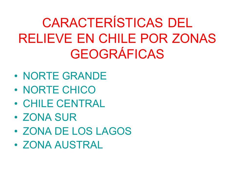 CARACTERÍSTICAS DEL RELIEVE EN CHILE POR ZONAS GEOGRÁFICAS