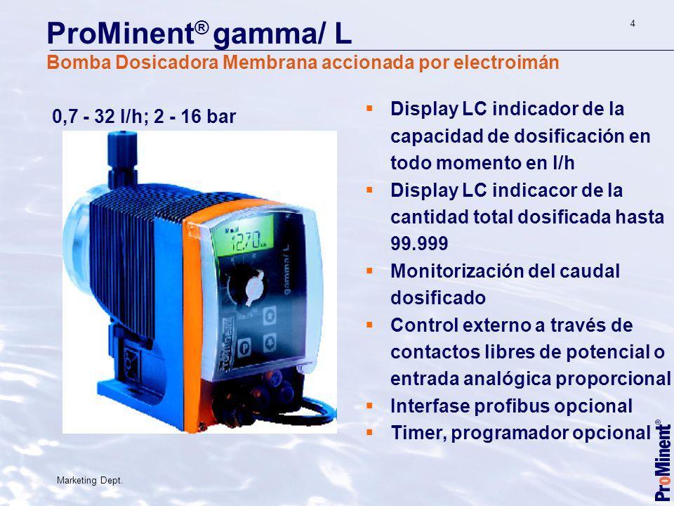 ProMinent® gamma/ L Bomba Dosicadora Membrana accionada por electroimán