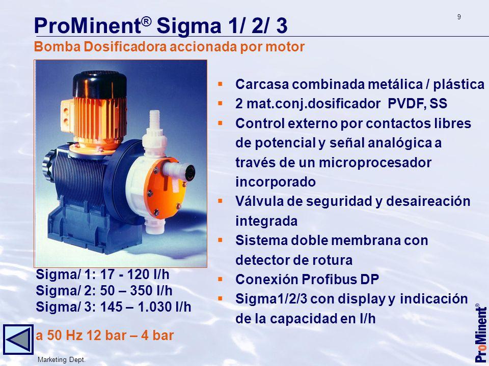 ProMinent® Sigma 1/ 2/ 3 Bomba Dosificadora accionada por motor