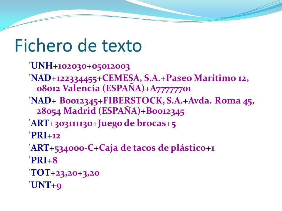 Fichero de texto UNH+102030+05012003. NAD+122334455+CEMESA, S.A.+Paseo Marítimo 12, 08012 Valencia (ESPAÑA)+A77777701.