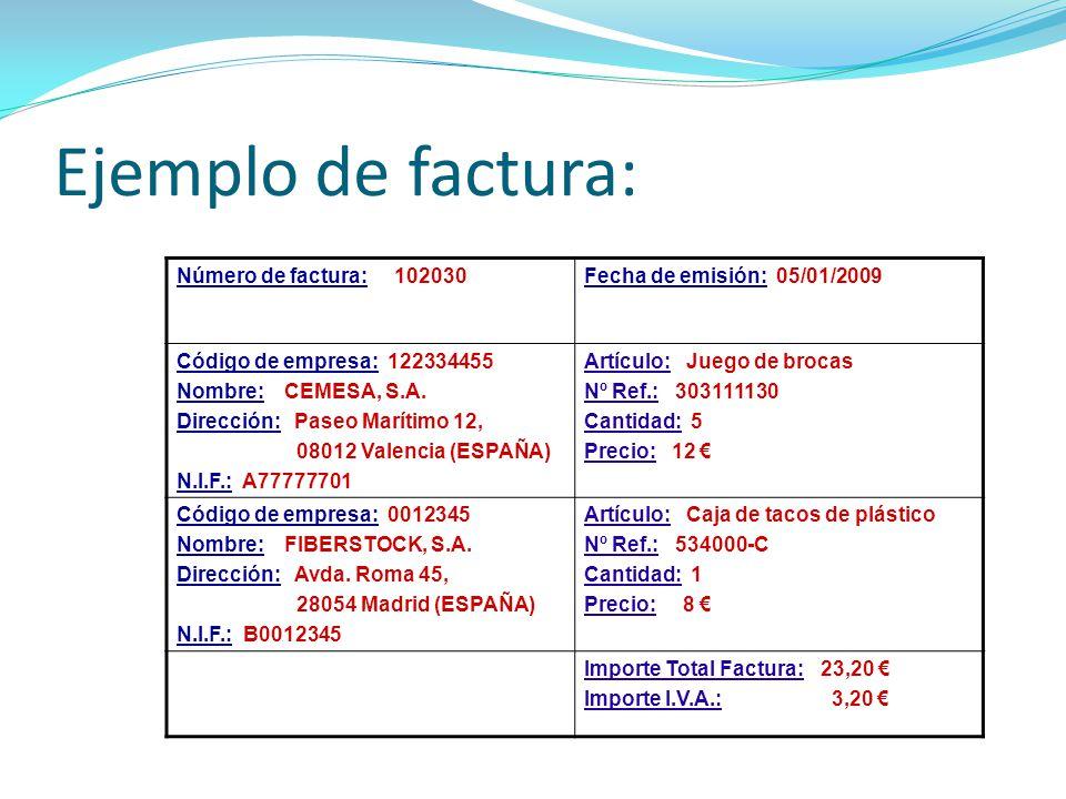 Ejemplo de factura: Número de factura: 102030