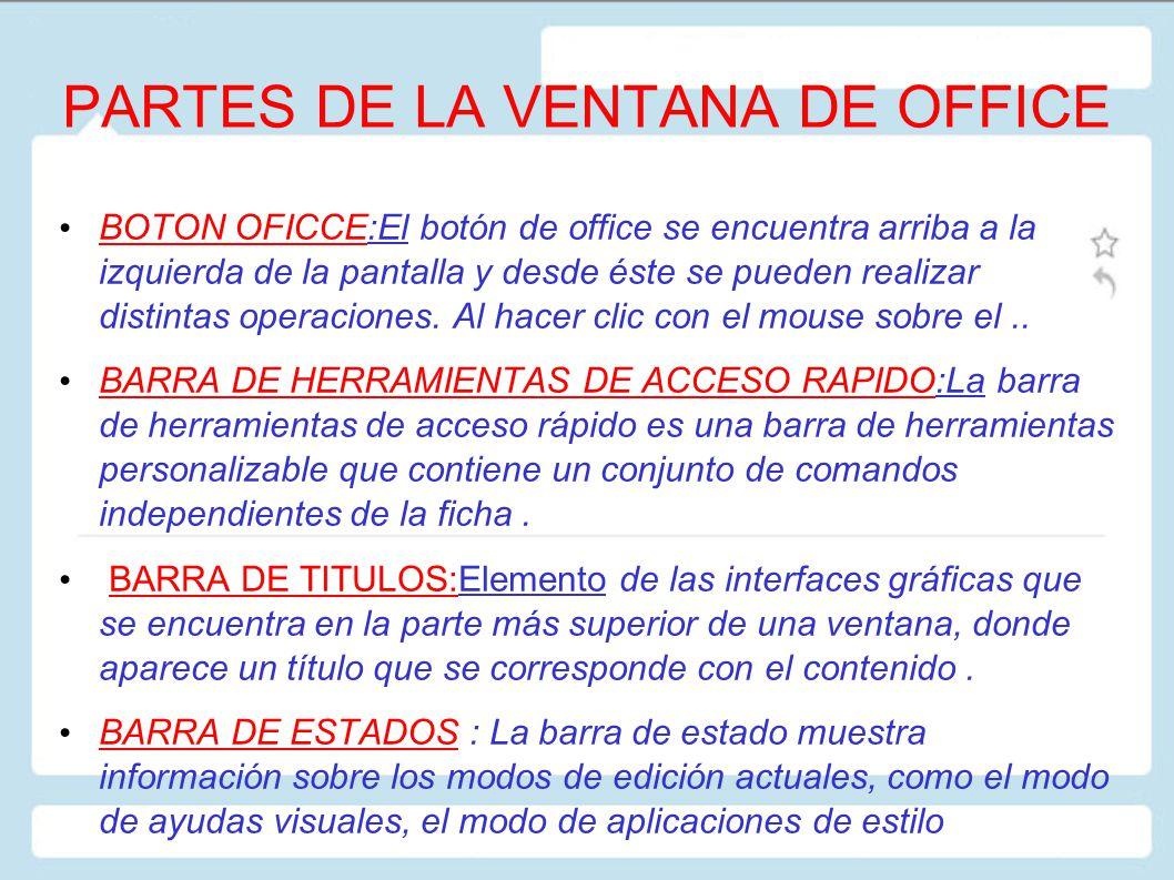 PARTES DE LA VENTANA DE OFFICE