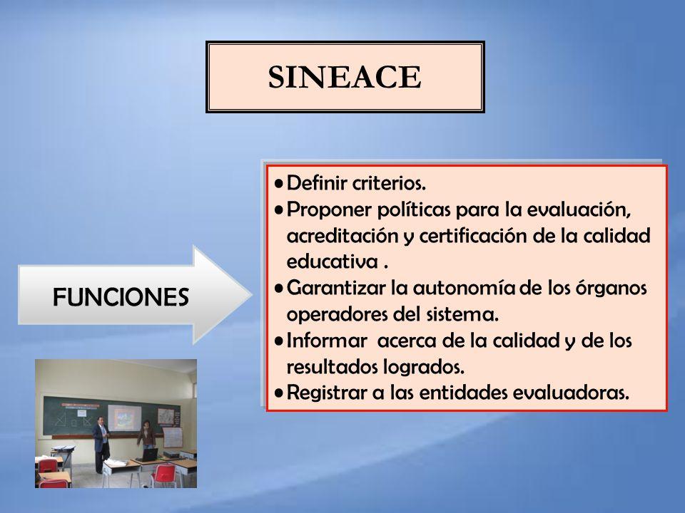 SINEACE FUNCIONES Definir criterios.