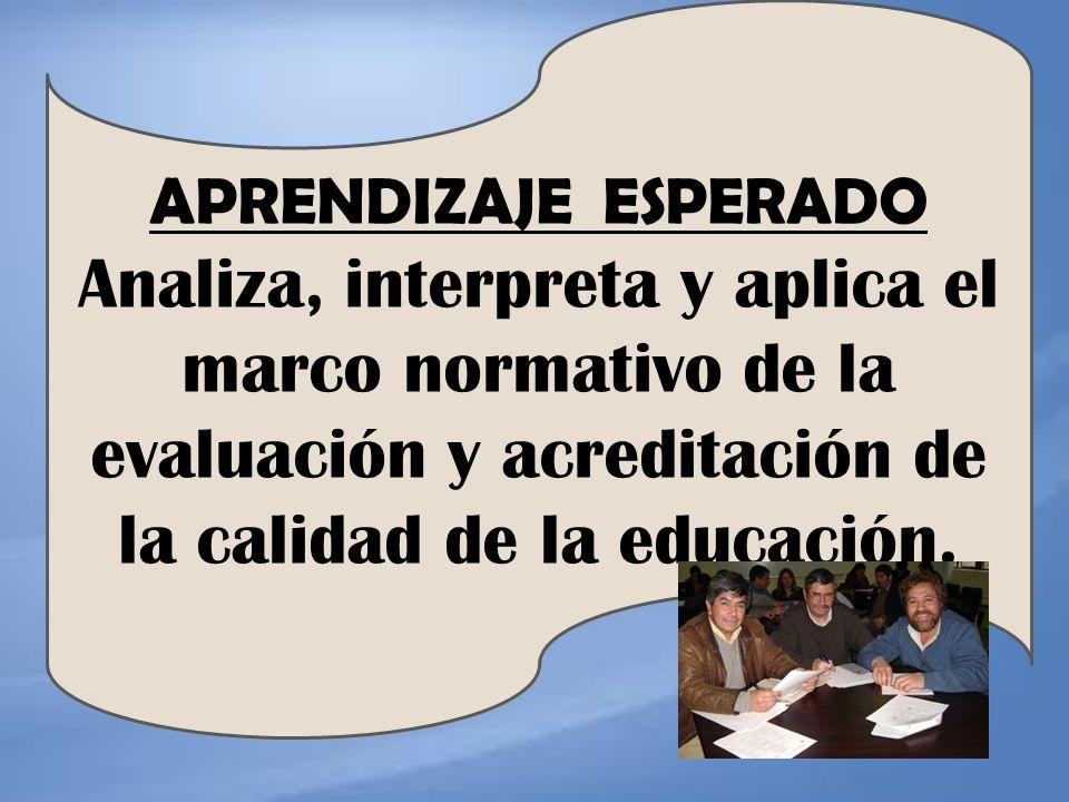 APRENDIZAJE ESPERADO Analiza, interpreta y aplica el marco normativo de la evaluación y acreditación de la calidad de la educación.