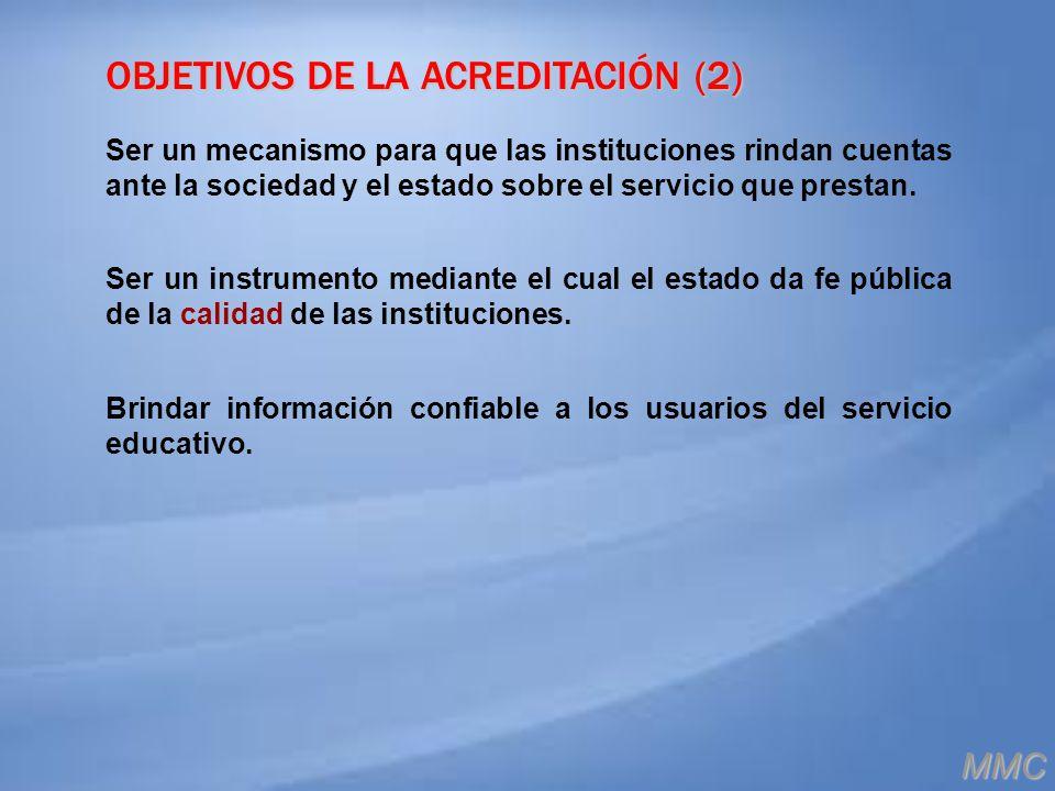 OBJETIVOS DE LA ACREDITACIÓN (2)