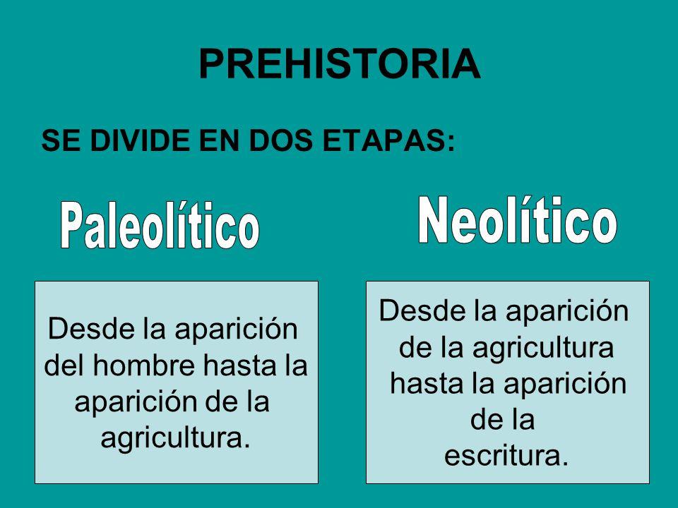 PREHISTORIA Neolítico Paleolítico SE DIVIDE EN DOS ETAPAS: